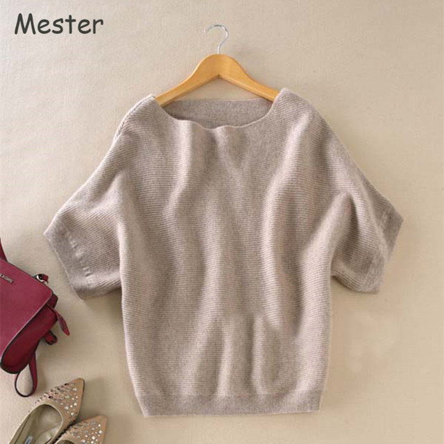 2017 Women Boat Slash Neck Short Sleeve Cashmere Sweater Fashion Solid Colors Loose Batwing Wool Sweaters Jumper Tops Spring