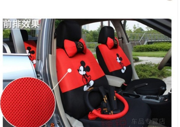 mickey mouse autocar front rear seat covers car accessories car cushion 18pc in automobiles seat. Black Bedroom Furniture Sets. Home Design Ideas