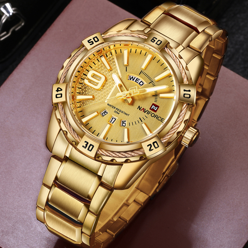 NAVIFORCE Luxury Brand Mens Sport Watch Gold Full Steel Quartz Watches Men Date Waterproof Military Clock