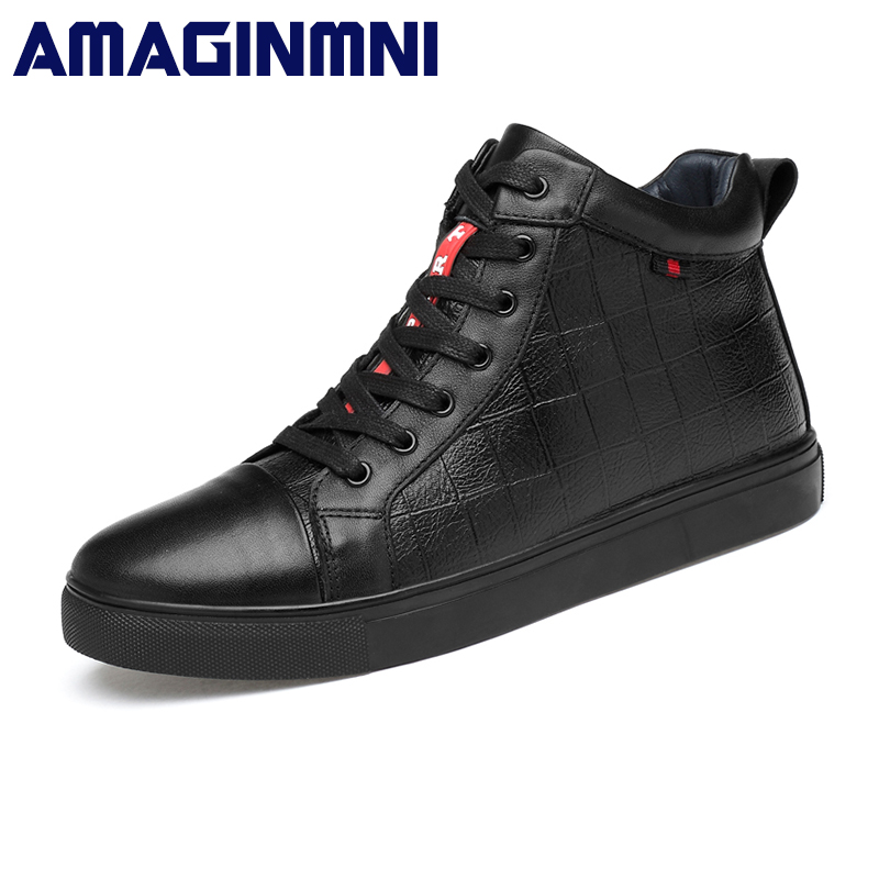 AMAGINMNI Brand Winter Boots Men Leather fashion Ankle boots Black shoes men High Quality With Fur Super Warm Snow Boots hot super warm men boots genuine leather snow boots plus fur men ankle boots waterproof winter shoes