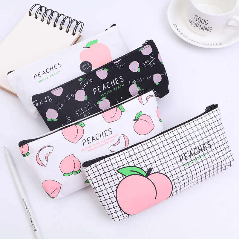 New Canvas Fruit Peach Pencil Case School Pencil Bag for Girl Stationery Canvas Makeup Bag Estojo Escolar School Supplies