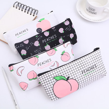 New Canvas Fruit Peach Pencil Case School Bag for Girl Stationery Makeup Estojo Escolar Supplies