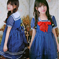 Spring Autumn Sundress Princess Dresses Navy Collar High Waist Dress Short sleeved Dress Lolita Costume On Sale