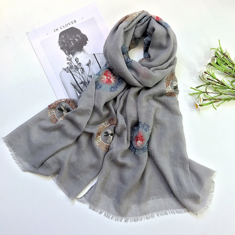 Spring Summer Cotton Linen   Scarf     Wraps   Women Vintage   Scarf   Mufflers Embroidery Flower   Scarf   Shawl