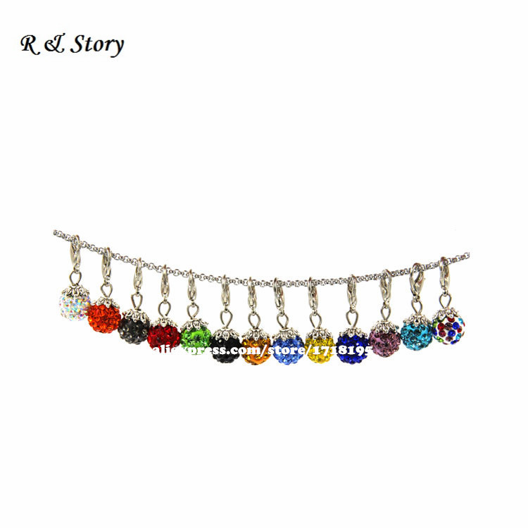 Crystal Ball Charm Dangles will clip onto any brand of Bracelet Necklaces, Gift Ideas for Women LFD_040