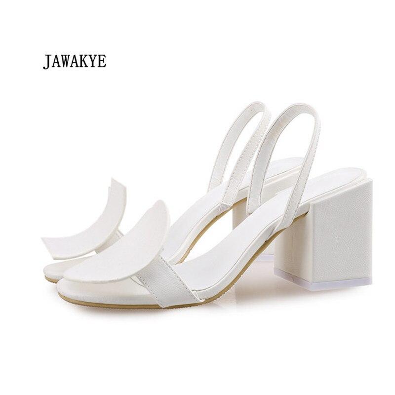 8a2d3032cc2 2018 el más nuevo Geonetric blanco sandalias mujeres cuadrado redondo zapatos  de tacón alto Elasti mujeres banda fiesta sandalias de verano zapatos de  mujer ...