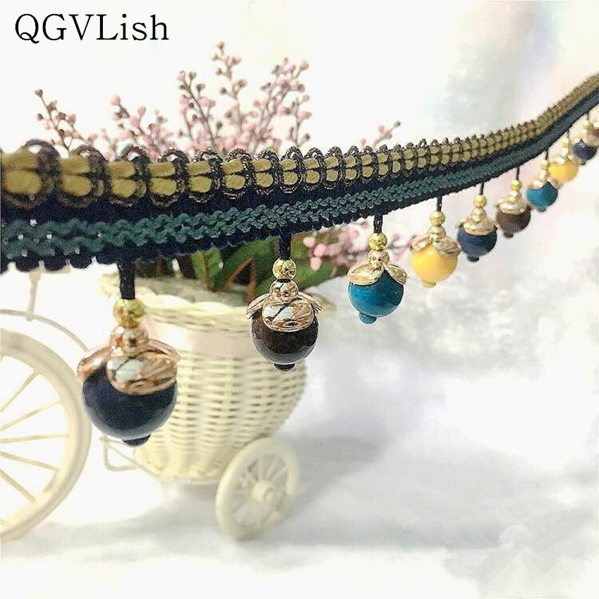 Qgvlish 12m Beads Curtain Lace Trims Tassel Fringe Diy Sewing Wedding Sofa Stage Lamp Edge Decor Curtain Accessories Lace Ribbon Firm In Structure Home Decor