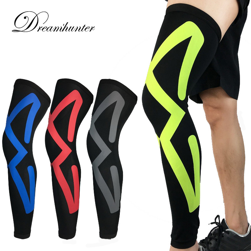 Breathable Long Knee Legwarmers Compression Calf Sleeve Volleyball Football Running Knee Supports Sports Protectors