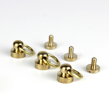 10Pcs Solid Brass Ball Post Studs Rivet with D ring Screwback Round Head Nails Spots Spikes Leather Craft DIY Accessories