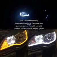 Hopstyling 2x 60CM Universal Flexible LED Strip Turn Signal Light Dual Color Car Daytime Running Lamps