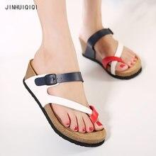 db3fb3f276fb Summer shoes flip flops casual Genuine Leather platform sandals slides vogue  cork wedges beach slippers women