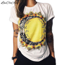 Summer Fashion T Shirts Women Short Sleeve O-Neck Thin Loose Tops Sun Floral Print Letter Camisetas Feminina T-Shirts Female