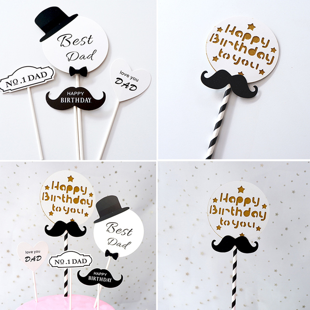 Happy Birthday Dad Cake Topper Fathers Day Decoration I Love You Best Father Party Idea Mustache