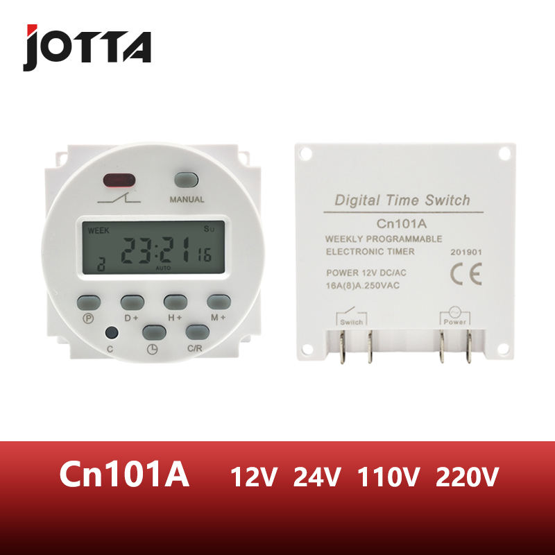 CN101A LCD time switch 12V <font><b>24V</b></font> 110V 220V Time <font><b>Relay</b></font> Street lamp billboard power supply timer WITHOUT waterproof box image