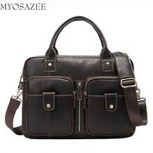 New Genuine Leather Men's Bag Horizontal Fashion Leisure Men's One-shoulder Handbag Retro Locomotive Briefcase цены