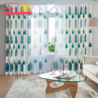 Happy Bear Home Window Curtain for Living Room Half Shading Curtains for Bedroom Polyester Cotton Floral Decorative Curtain
