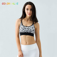 Colorvalue Leopard Printed Sport Bras Women Professional High Impact Running Bra Top Quality Push Up Padded