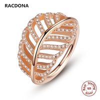 925 Sterling Silver Light As A Feather Ring Rose Clear Zircon Finger Ring For Women Wedding