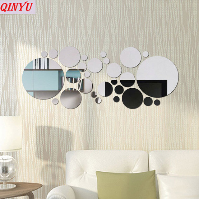 30PCS Business Wall Stickers Round 3D Mirror Wall Art Home Decors ...