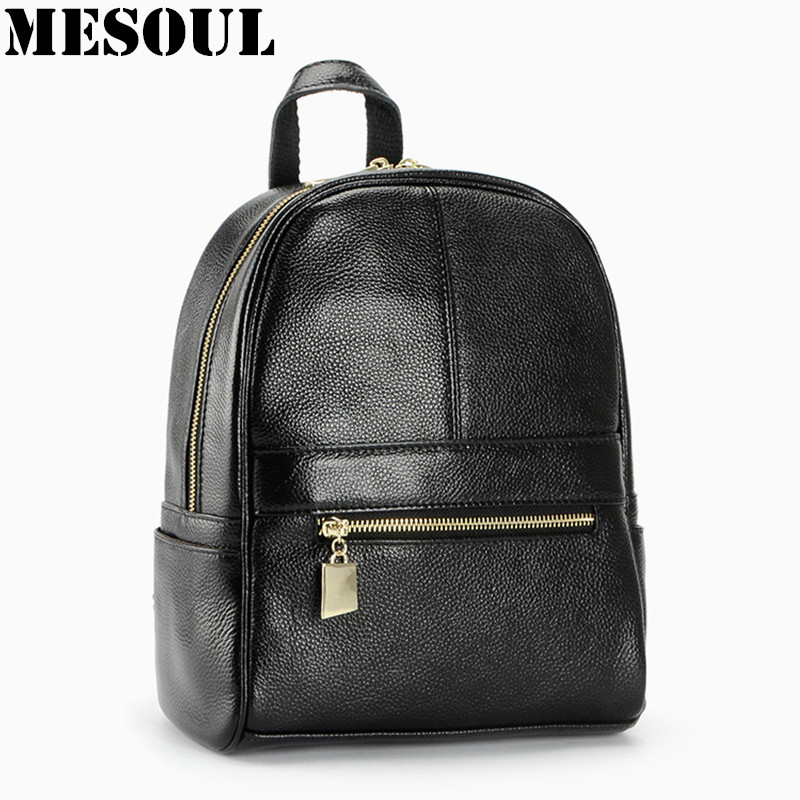 Women Backpack Genuine Leather School Bags For Girls Small Shoulder Bag Fashion Casual Skin backpacks teenage Travel Bag Mochila
