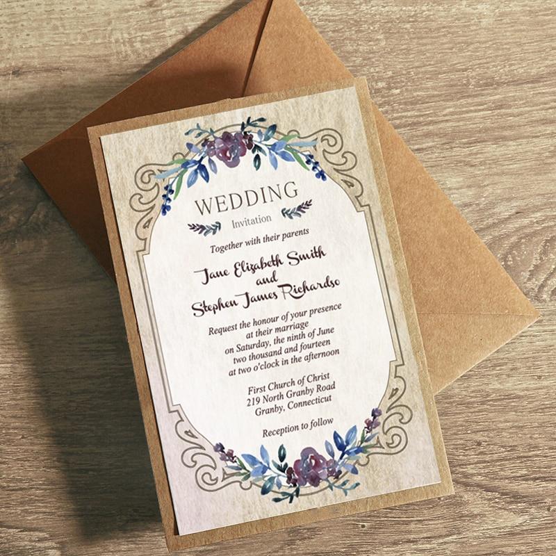 Vintage Flowers Wedding Invitations, Rustic Wedding