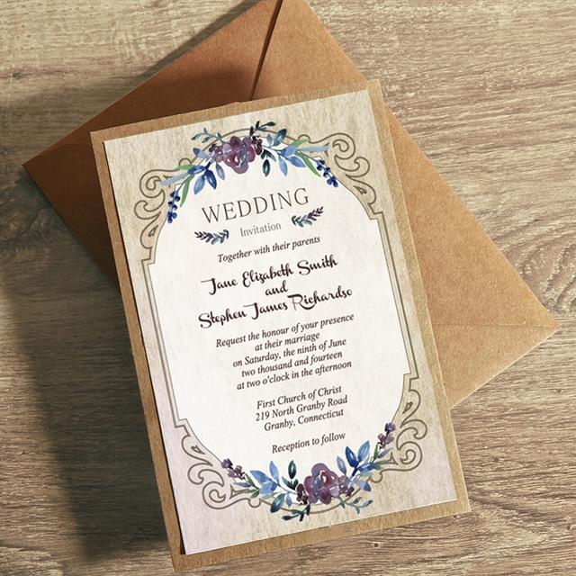 Vintage Flowers Wedding Invitations Rustic Wedding Invitation