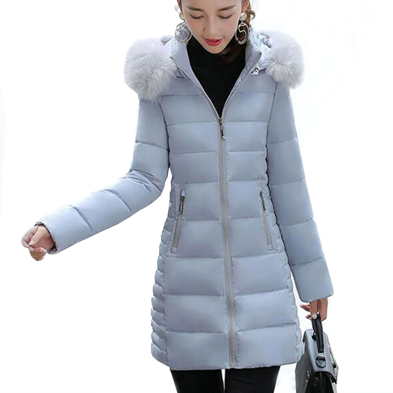 Winter Women Long Hooded Faux Fur Collar Cotton Coat Thick Wadded Jacket Padded Female Parkas Outerwear Cotton Coats PW0999 women s thick warm long winter jacket women parkas 2017 faux fur collar hooded cotton padded coat female cotton coats pw1038