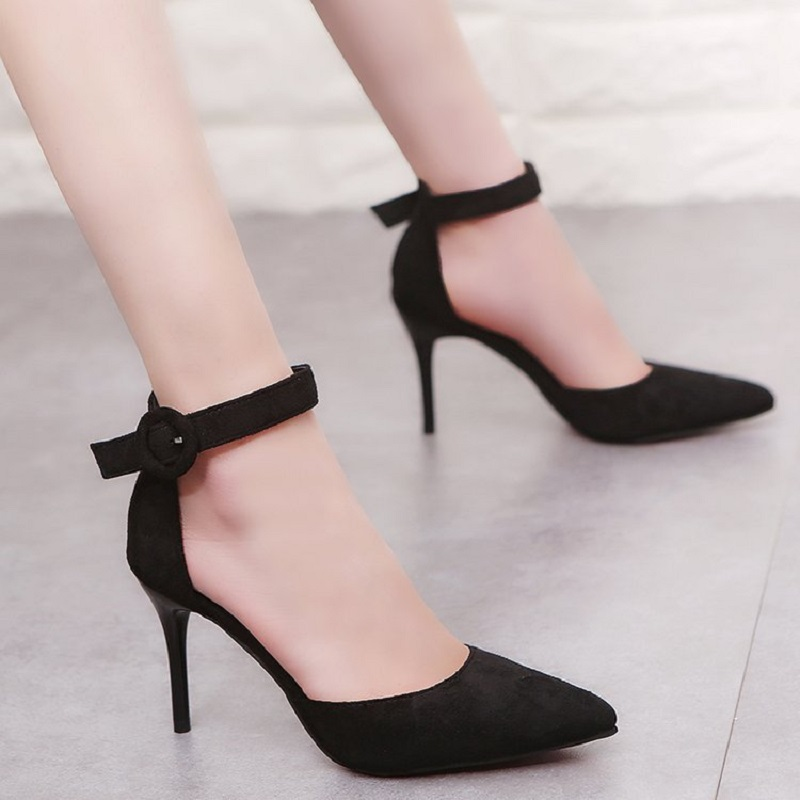 US $14.33 39% OFF|New Arrival 2019 Korean High Heels Shoes Concise Pointed Toe Office Shoes Women's Fashion Solid Flock Shallow for Women in Women's