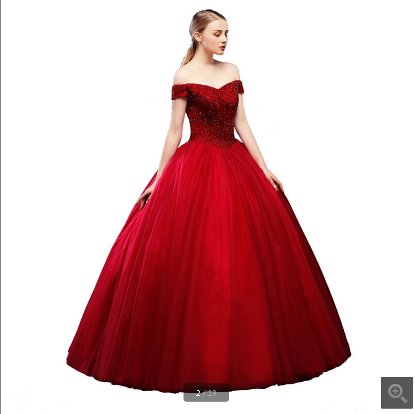 2019 new arrival red ball gown heavily beading princess puffy   prom     dress   off the shoulder v neck corset puffy   prom   gowns 2019