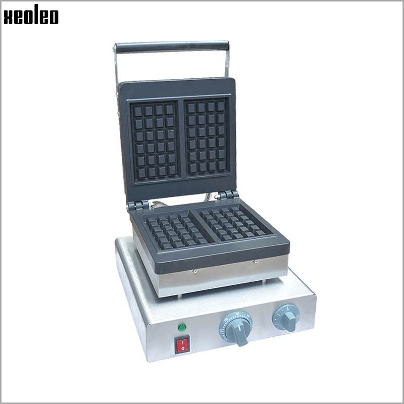 Xeoleo Stainless steel Waffle maker 2000W Double Plate Waffle machine with timing Commercial Waffle maker Belgian waffle machine one head rotary belgian waffle maker machine for commercial restaurant machinery wholesale