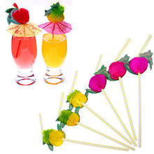 New 100Pcs Hawaiian Theme 3D Fruit Summer Party Colorful Cocktail Drink Straw Funny(China)