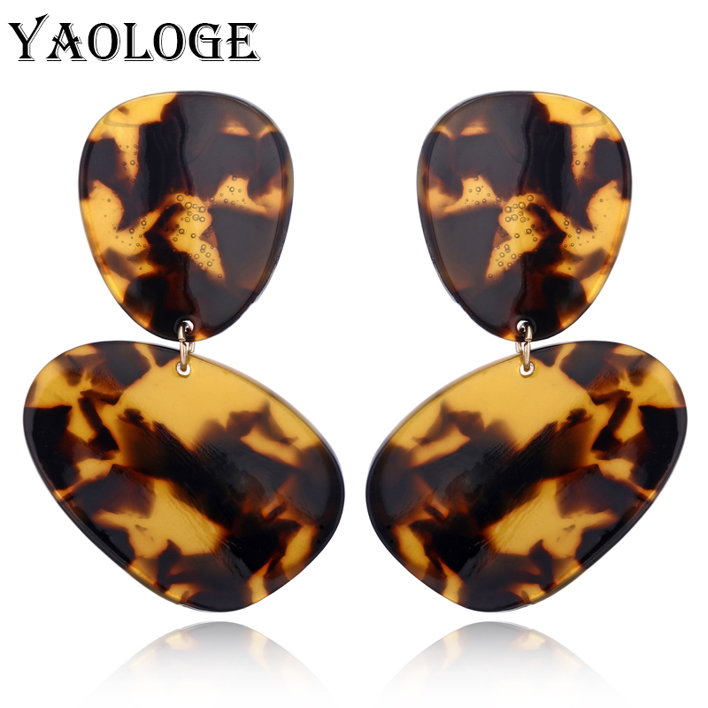 YAOLOGE Irregular Oval Acrylic Earrings Bohemian Style Fashion Geometric Jewelry Vintage Statement For Women Accessorie