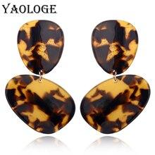 YAOLOGE Irregular Oval Acrylic Earrings Bohemian Style Fashion Earrings Geometric Jewelry Vintage Statement For Women Accessorie