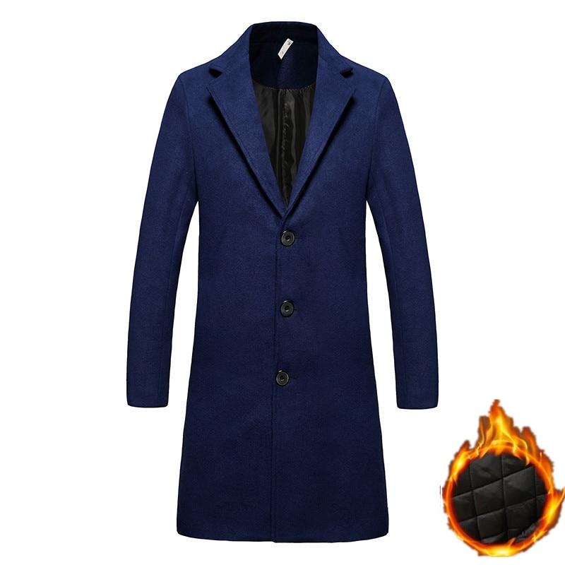 Marque Coupe Épaisse Vestes Manteaux La Hiver Gamme De Mode Chaleur Couleur Laine Poussière Noir D'affaires vent marine Tissu Hommes Boutique Haut Pure Bleu ZTkOPXiuwl