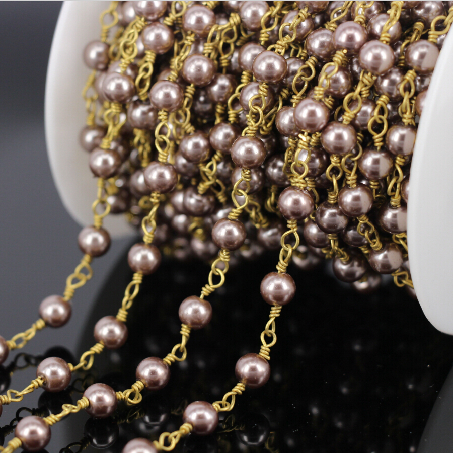 5Meter Glass Pearl Smooth Round Bead Link Rosary Chain,plated Gold Wire Wrapped Chain Necklace Fashion Jewelry Findings