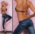 Заклепки стиль моды женские джинсы леггинсы jeggings дамы капри черный / синий бесплатная доставка