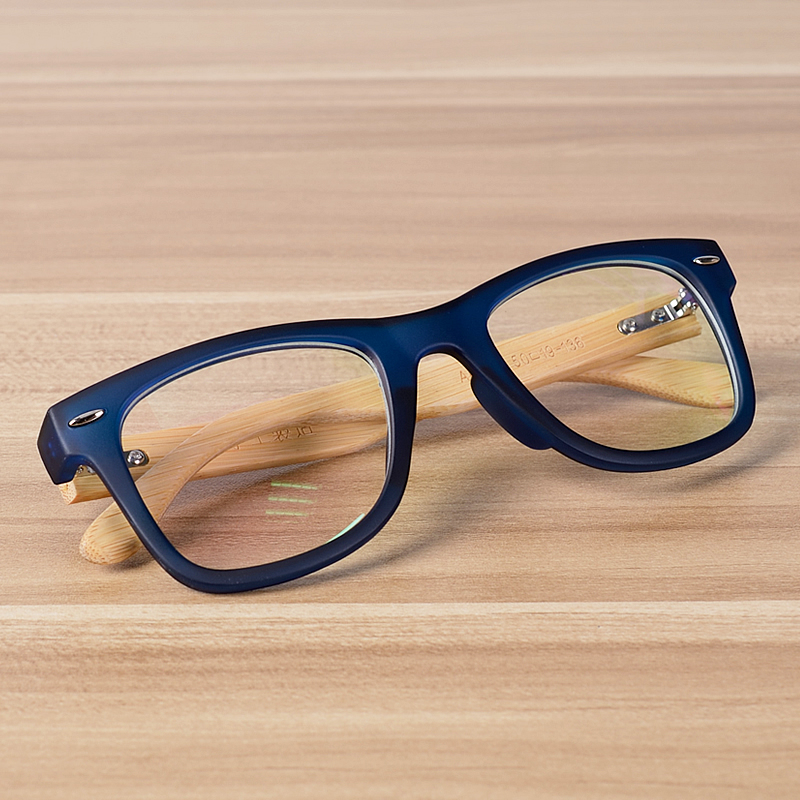 NOSSA Handmade Bamboo Clear Frame Glasses Women And Men's Classic Myopia Prescription Eyewear Frames Wood Retro Blue Eyeglasses