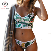 2017 Sexy Floral Biquini Thong Zipper Swim Bathing Suit Plus Size Swimwear Women Brazilian Bikini Push
