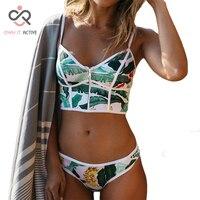 2017 Sexy Floral Biquini Thong Zipper Swim Bathing Suit Plus Size Swimwear Women Brazilian Bikini Push