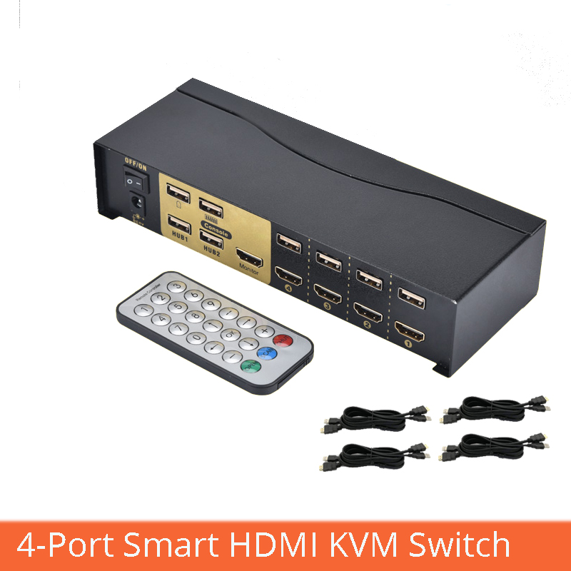 4 Port Smart HDMI KVM Switch 4 In 1 Out USB Mouse Keyboard Sharing Distributor With Cable