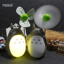 Creative Cartoon Totoro Rechargeable Mini Fan Night Light LED Bedside Nightlights For Children Birthday Gift Room Decor(China)