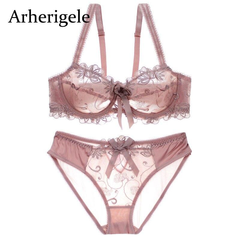 bc0597d6e753 Arherigele bordado sujetador ropa interior Mujer sujetador conjunto 3/4taza  ultrafina transparente sujetador y Panty conjunto Sexy encaje Bralette  Lencería ...