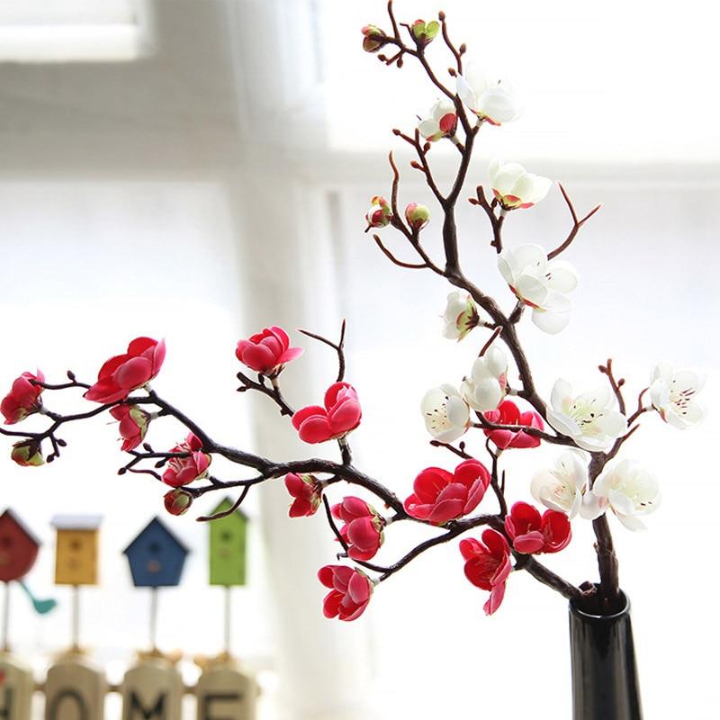 Искусственные шелковые цветы Япония Слива вишня Искусственные цветы Флорес Сакура ветви дерева Свадебные украшения для дома комнаты A6940|Искусственные и сухие цветы|   | АлиЭкспресс