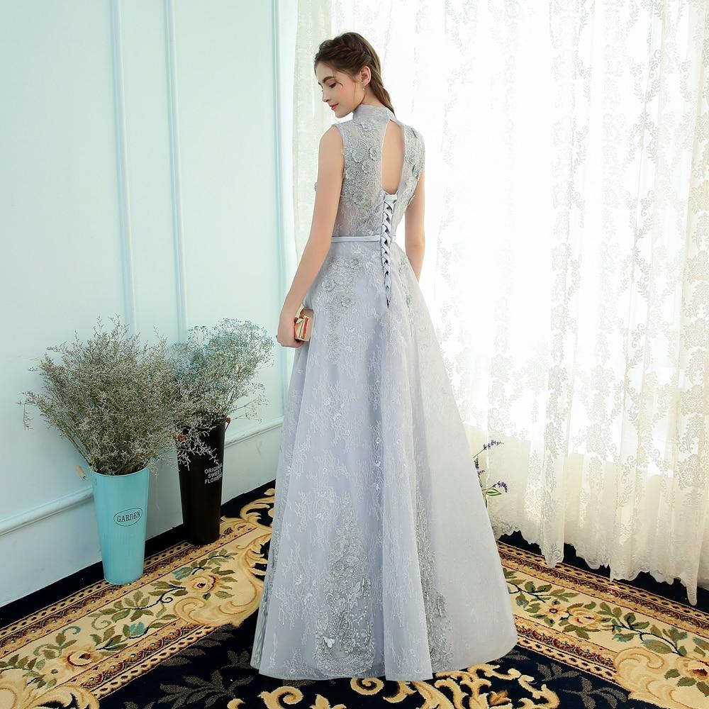 SSYFashion New Evening Dress The Bride Banquet Elegant Grey Lace ...
