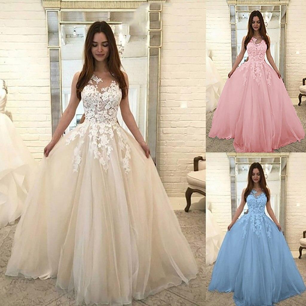 Elegant Ball Gown Wedding Dresses: New Vestidos Verano 2019 Women Fashion Floral Lace Wedding