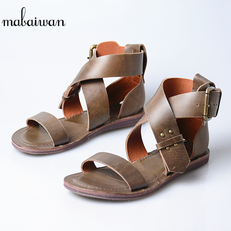 Mabaiwan Women Gladiator Sandals Flip Flops Peep Toe Shoes Woman Casual Beach Shoes Genuine Leather Chaussure Cross-Tied Flats new gladiator cross tied flat sandals women casual strappy summer shoes beach sandals black beige woman flip flops sandale femme