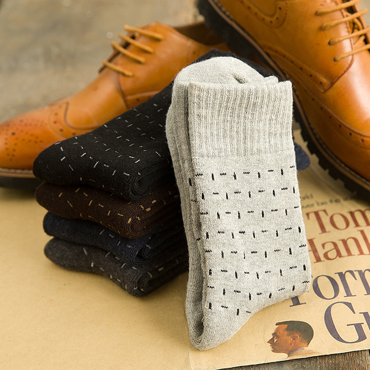 Winter New Men Thick Dress Socks Mens Solid Business Tube Sock Fashion Simple Style Black Gray Thermal Terry Socks