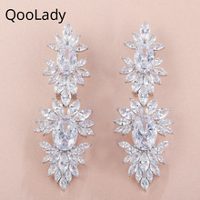 QooLady Luxury Marquise Cut Cubic Zirconia Brilliant Silver Statement Long Big Wedding Costume Jewelry Earrings for Brides E007