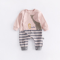 Peninsula Baby Soft Baby Jumpsuits Carton Animal Giraffe Elephant Striped Rompers Infant Climbing Clothes Thick Warm