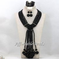 Black Nigerian Traditional Beads Best Selling Dubai Gold Jewelry Set Handmade Design ABS137